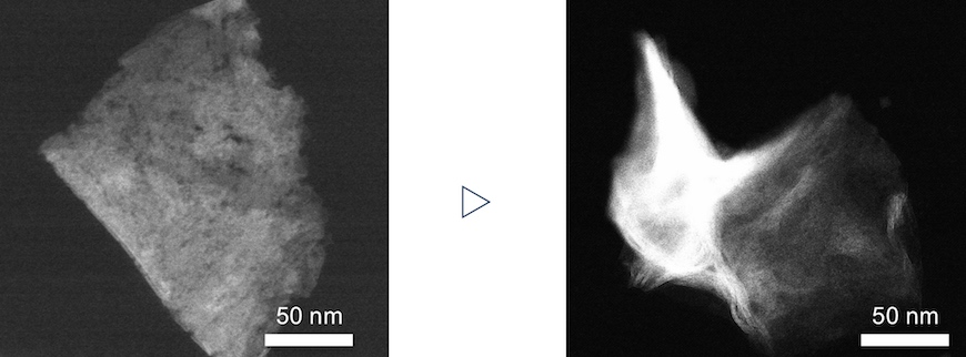 A single 2-D nanosheet is crumpled into a 3-D structure.