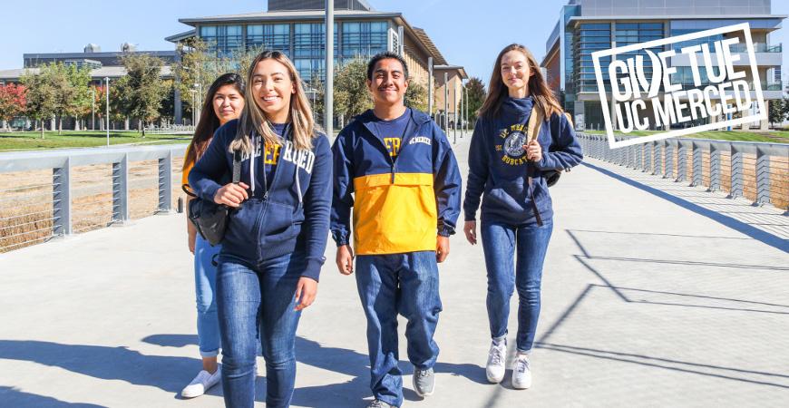 Students walk across campus at UC Merced