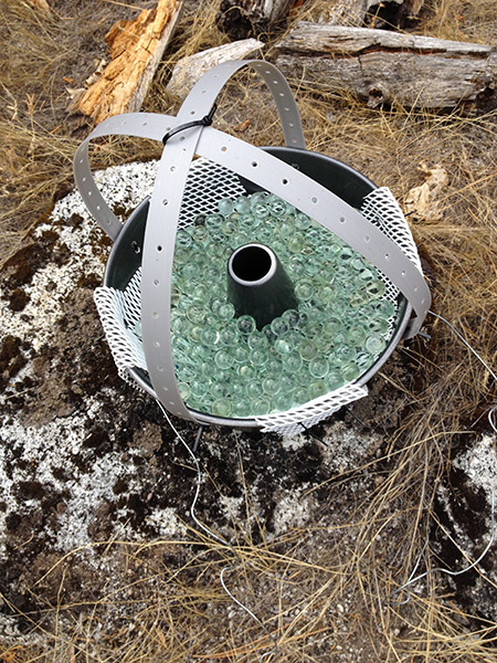 Bundt cake pans filled with marbles collected the dust that was analyzed for its contribution to the Sierra Nevada ecosystem.