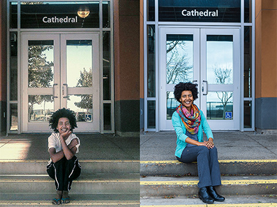 McGuire sits on the steps of Cathedral Hall where she served as an RA then (2013) and now.