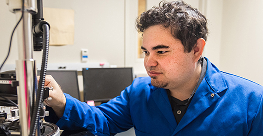 Graduate student Warren Nanney was awarded a three-year NASA fellowship to continue his research engineering portable biosensors for health monitoring in space.