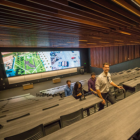 The cinema-quality auditorium was among the features attendees got to explore in the new Arts and Computational Sciences Building.