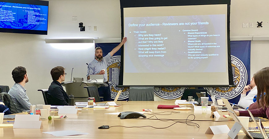 John Crockett, senior director of sponsored research project development and management at San Diego State University, facilitated the week-long fellowship workshops.