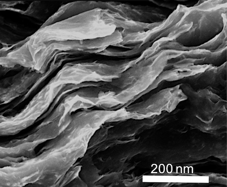 Electron micrograph of stacked 2-D sheets of molybdenum disulfide.