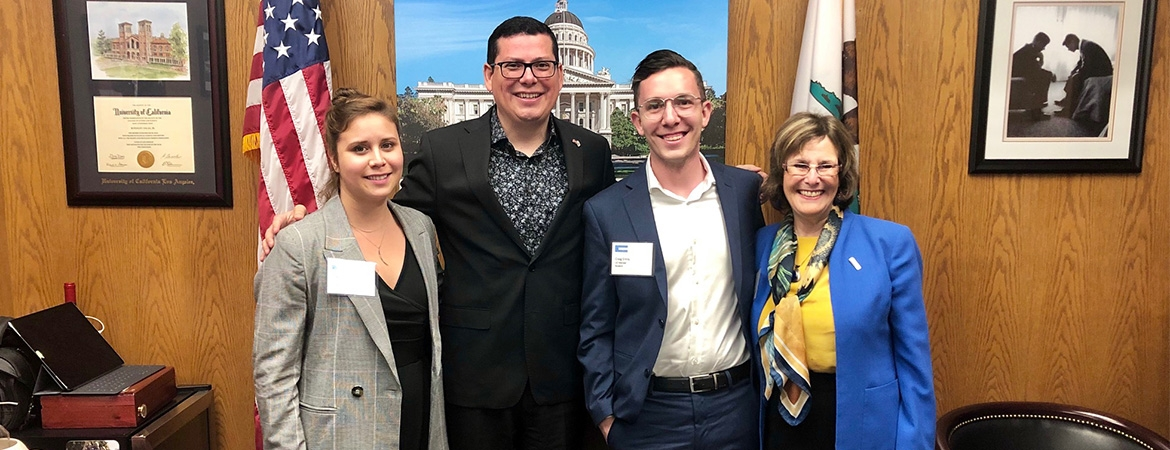 Ph.D. students Craig Ennis and Vicky Espinoza visited Sacramento with Vice Provost and Graduate Dean Marjorie Zatz to speak with lawmakers about the contribution of graduate research to California's development.